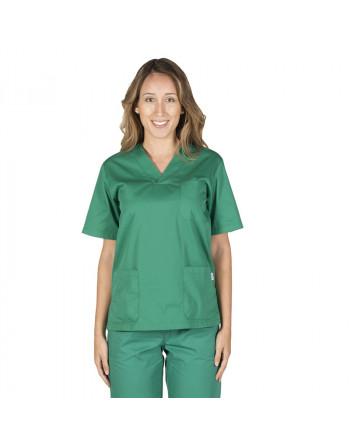 Blusa Verde cuello pico MC